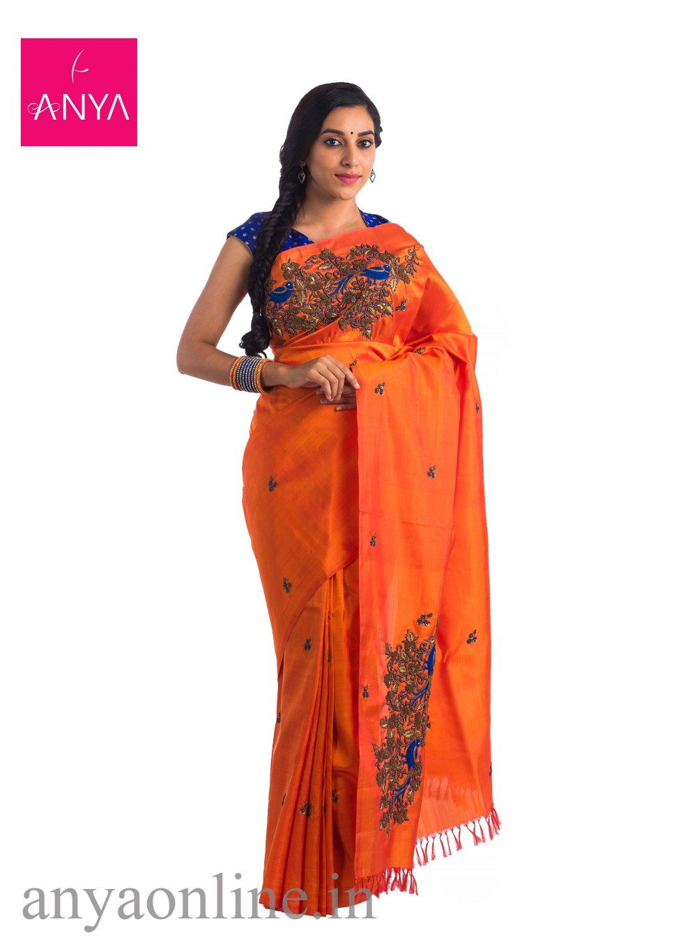 0869306f69 271f7d7d7d81c49a8e171d24ac7af7a1 Orange kanchipuram silk saree with MS Blue  embroidery-1000x1362